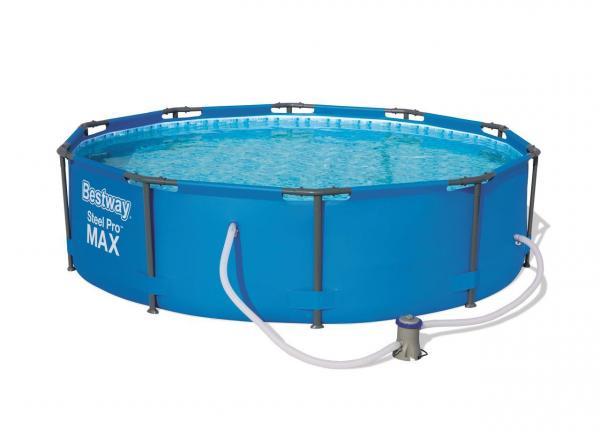 Steel Pro MAX Framepool Set, rund, blau Ø366 x 76 cm