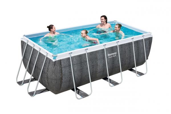 Power Steel Frame Pool-Set, eckig, 412 x 201 x 122 cm