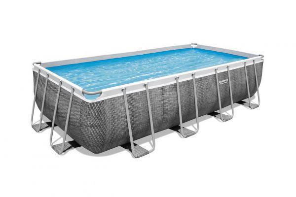 Power Steel Frame Pool, 488 x 244 x 122 cm, Komplett-Set mit Filterpumpe, Rattan-Optik