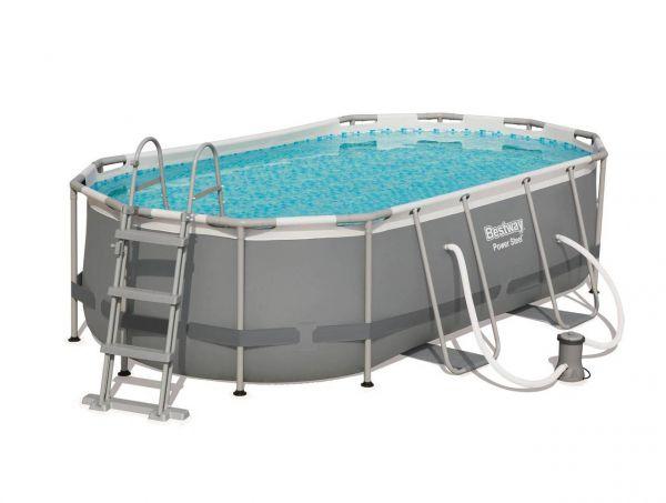 Bestway 56620 Pool oval, Set Pumpe, Poolleiter