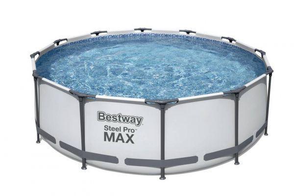 Steel Pro MAX Framepool Set, rund, mit Filterpumpe, Leiter, 366 x 100 cm