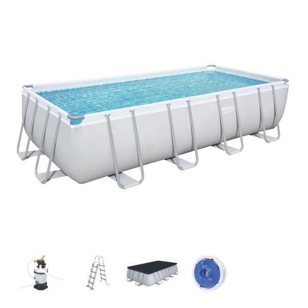Bestway 56671 Pool, Stahlrahmenpool, Sandfilterpumpe, Poolleiter, Poolset