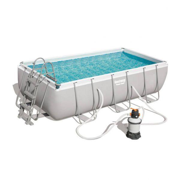Bestway 56442 Pool Set Stahlrahmen, Sandfilterpumpe, Poolleiter