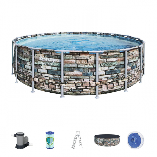 Power Steel Frame Pool Komplett-Set, rund, Ø549 x 132 cm