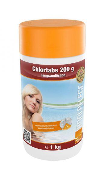 Chlortabs 200g, langsam löslich, Wasserpflege für Pool, 1kg Dose