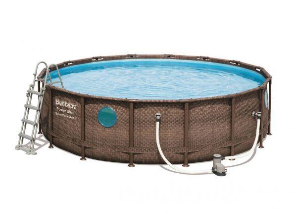 Bestway 56725 Stahlrahmenpool Schwimmbecken Pumpe, Poolleiter, Filter