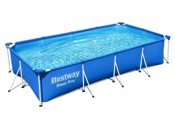 Steel Pro Frame Pool, eckig, ohne Pumpe 400 x 211 x 81 cm