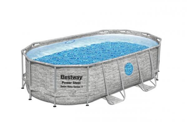 Swim Vista Series Frame Pool Komplett-Set, oval, mit Filterpumpe, 427 x 250 x 100 cm