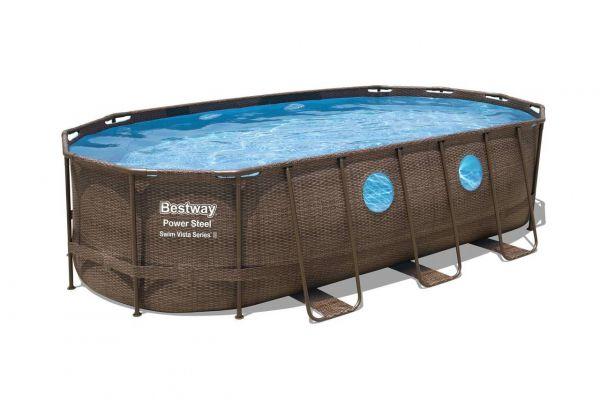 Power Steel Swim Vista Series Frame Pool Komplett-Set, oval, 549 x 274 x 122 cm