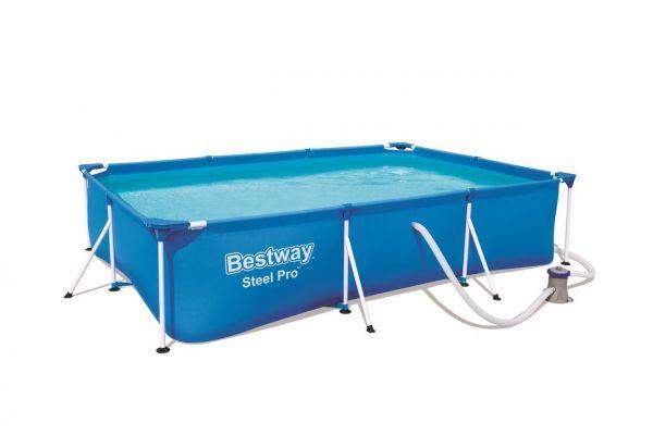 Steel Pro Framepool Set, eckig, blau 300 x 201 x 66 cm